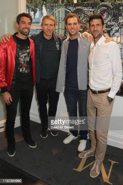 Jeremy Chardy, Brendan Murphy, Mike Bryan and Novak Djokovic attend an intimate dinner at The Maddox Gallery in celebration of American Artist...