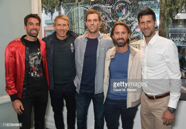 Jeremy Chardy Brendan Murphy Mike Bryan Jay Rutland and Novak Djokovic attend an intimate dinner at The Maddox Gallery in celebration of American...