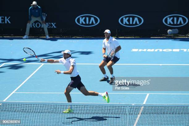 Jeremy Chardy of France and Fabrice Martin of France compete in their first round men's doubles match against Pablo Cuevas of Uruguay and Horacio...