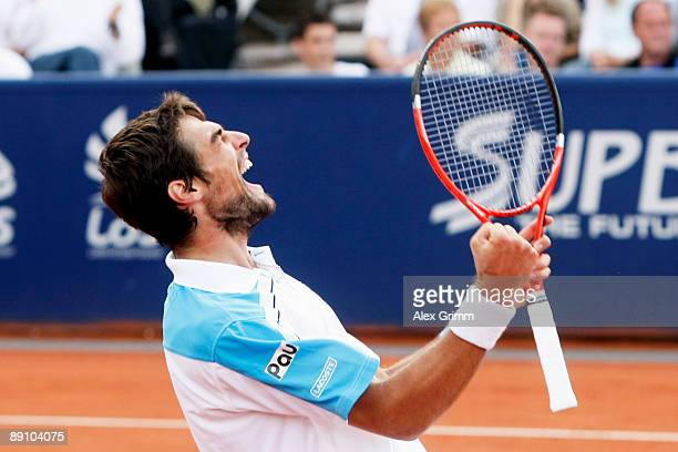 Jeremy Chardy of France celebrates after winning the final match against Victor Hanescu of Romania during the MercedesCup at the TC Weissenhof on...