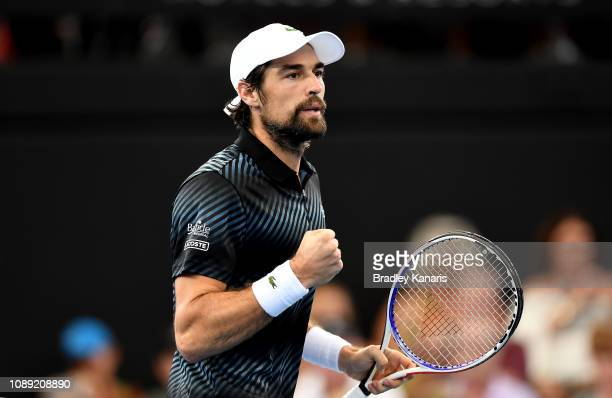 Jeremy Chardy of France celebrates after winning the first set in his match against Yasutaka Uchiyama of Japan during day five of the 2019 Brisbane...