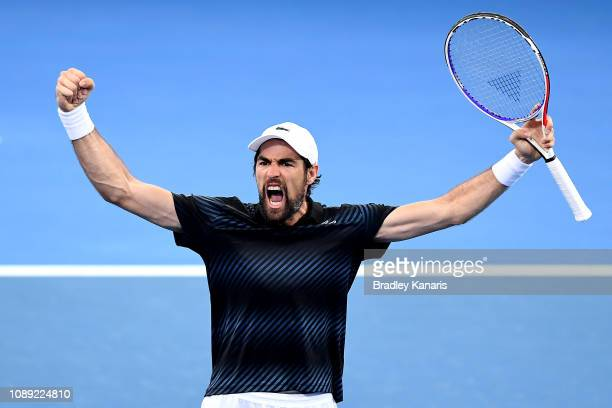Jeremy Chardy of France celebrates after winning the match against Yasutaka Uchiyama of Japan during day five of the 2019 Brisbane International at...