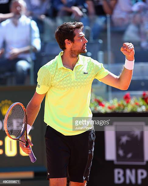 Jeremy Chardy of France celebrates defeating Roger Federer of Switzerland during day four of the Internazionali BNL d'Italia tennis 2014 on May 14,...