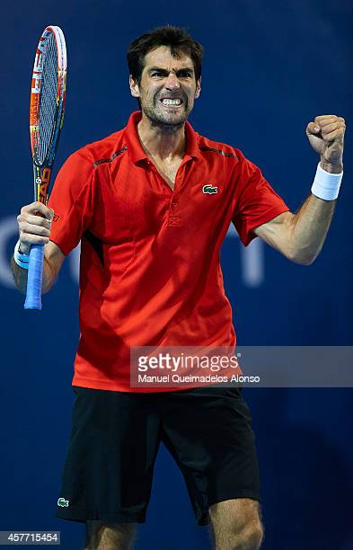 Jeremy Chardy of France celebrates match point against Alexandr Dolgopolov of Ukraine during day four of the ATP 500 World Tour Valencia Open tennis...