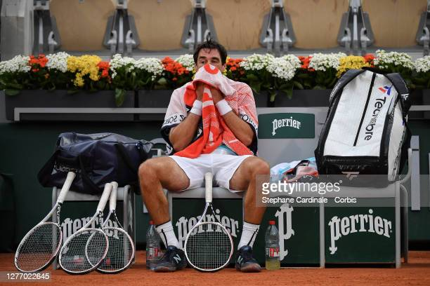 Jeremy Chardy of France during the first round of the singles competition against Jurij Rodionov of Austria on Court Suzanne Lenglen during day one...