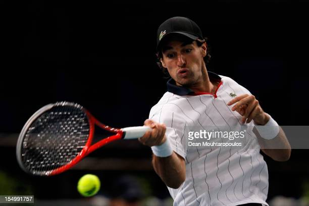 Jeremy Chardy of France in action against Guillermo Garcia- Lopez of Spain during day 2 of the BNP Paribas Masters at Palais Omnisports de Bercy on...