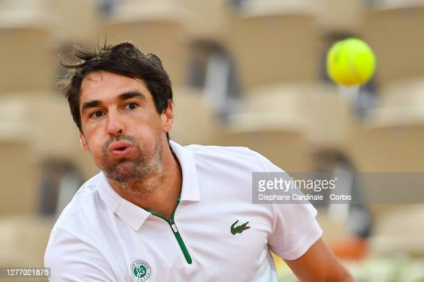 Jeremy Chardy of France in action against Jurij Rodionov of Austria on Court Suzanne Lenglen in the first round of the singles competition during day...