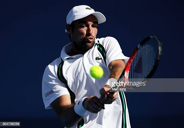 Jeremy Chardy of France plays a backhand in his match against James Duckworth of Australia during day four of the Sydney International at Sydney...