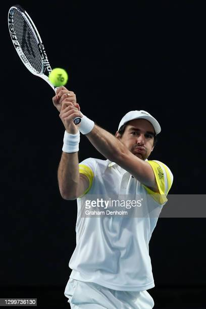 Jeremy Chardy of France plays a backhand in his match against Marin Cilic of Croatia during day one of the ATP 250 Murray River Open at Melbourne...