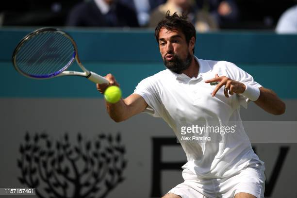 Jeremy Chardy of France plays a forehand during his Second Round Singles Match against Stefanos Tsitsipas of Greece during day Four of the Fever-Tree...