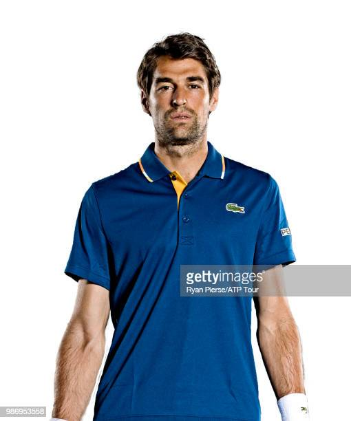 Jeremy Chardy of France poses for portraits during the Australian Open at Melbourne Park on January 14 2018 in Melbourne Australia
