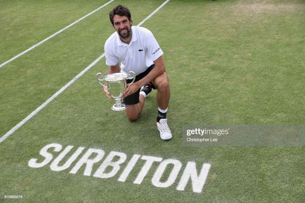 Jeremy Chardy of France poses for the camera with the Surbiton Trophy after his victory over Ale De Minaur of Australia during their Mens Final match on Day 09 of the Fuzion 100 Surbition Trophy on June 10, 2018 in London, United Kingdom.