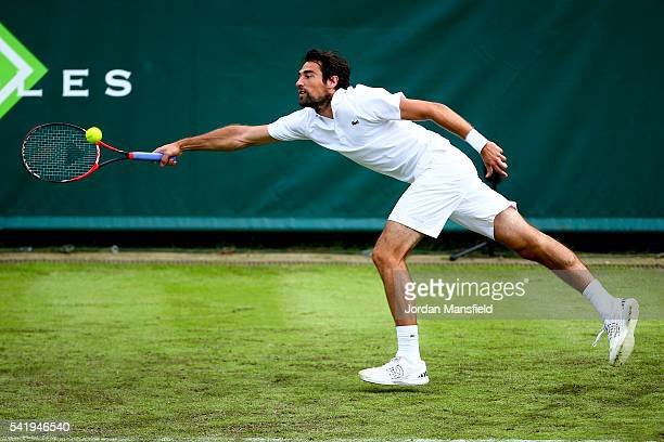 Jeremy Chardy of France reaches for a forehand during his match against Viktor Troicki of Serbia during day one of The Boodles Tennis Event at Stoke...