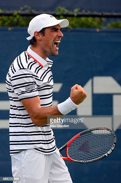 Jeremy Chardy of France reacts during his Men's Singles Second Round match against Martin Klizan of Slovakia on Day Three of the 2015 US Open at the...