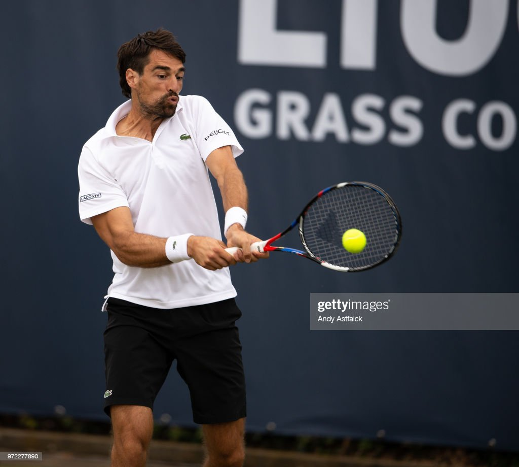 Jeremy Chardy of France returns a shot against Guillermo Garcia-Lopez from Spain in their First Round, Men's Singles Match on Day Two of the Libema Open 2018 on June 12, 2018 in Rosmalen, Netherlands.