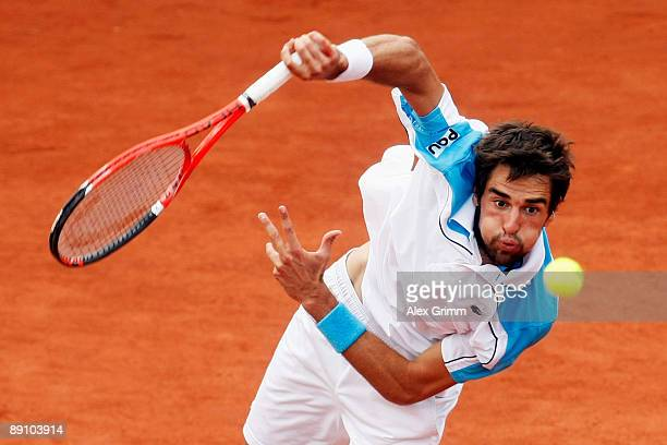 Jeremy Chardy of France returns the ball to Victor Hanescu of Romania during the final match of the MercedesCup at the TC Weissenhof on July 19 2009...