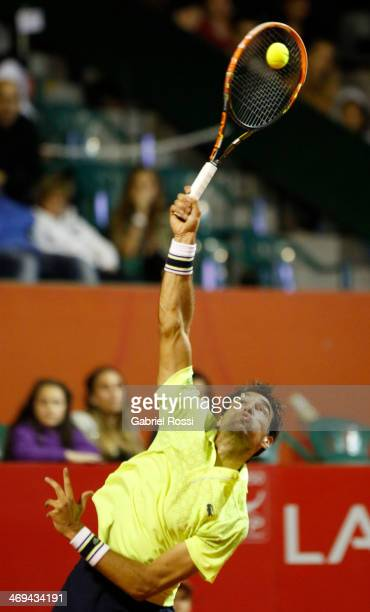 Jeremy Chardy of France serves during a tennis match between Nicolas Almagro and Jeremy Chardy as part of ATP Buenos Aires Copa Claro on February 14,...