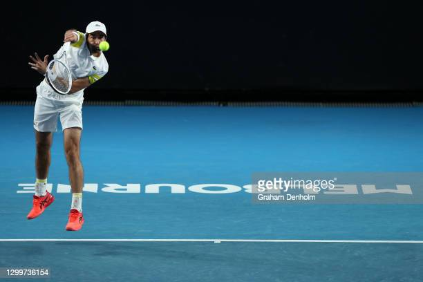 Jeremy Chardy of France serves in his match against Marin Cilic of Croatia during day one of the ATP 250 Murray River Open at Melbourne Park on...