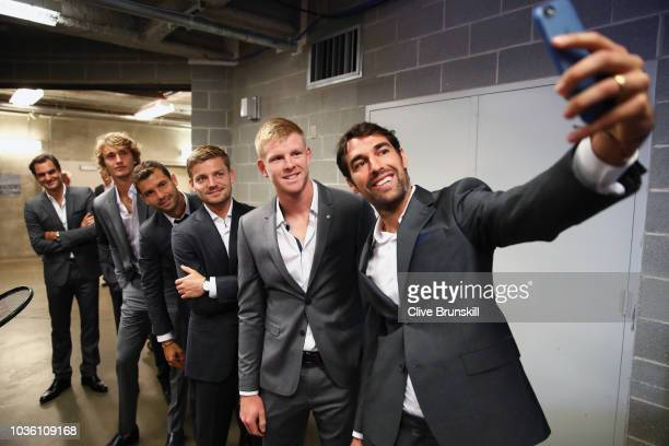 Jeremy Chardy of Team Europe takes a selfie of team mates Kyle Edmund David GoffinGrigor DimitrovAlexander Zverev and Roger Federer as Team Europe...