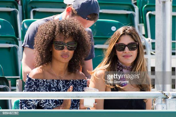 Jeremy Chardy's wife model Susan Gossage attends match during the 2018 Miami Open held at the Crandon Park Tennis Center on March 27 in in Key...