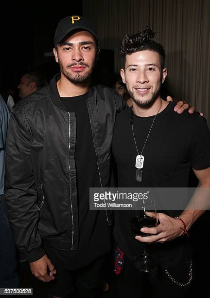 """Jeremy Chavarria and Byron Martinez attend the after party for the 2016 LA Film Festival Opening Night Premiere Of """"Lowriders"""" at Beso on June 1,..."""
