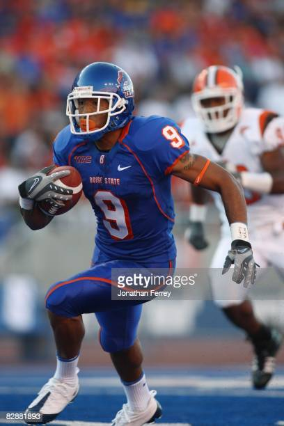 Jeremy Childs of the Boise State Broncos runs with the ball against the Bowling Green Falcons at Bronco Stadium on September 13 2008 in Boise Idaho