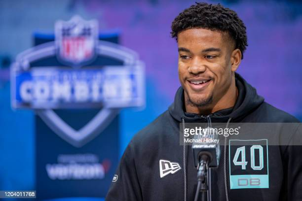 Jeremy Chinn #DB40 of the Southern Illinois Salukis speaks to the media on day four of the NFL Combine at Lucas Oil Stadium on February 28, 2020 in...