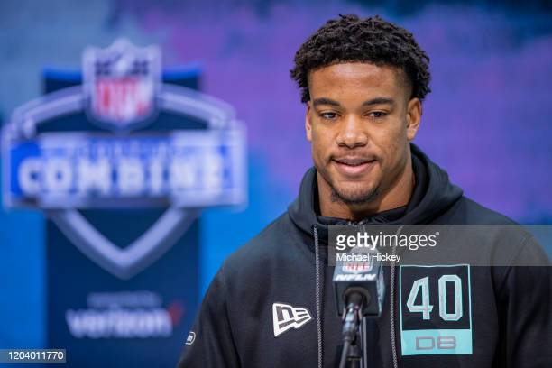 Jeremy Chinn #DB40 of the Southern Illinois Salukis speaks to the media on day four of the NFL Combine at Lucas Oil Stadium on February 28 2020 in...