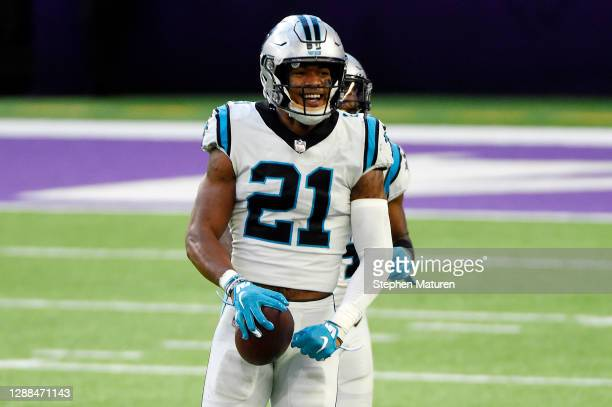 Jeremy Chinn of the Carolina Panthers celebrates after recovering a fumble by Dalvin Cook of the Minnesota Vikings and returning it for a touchdown...