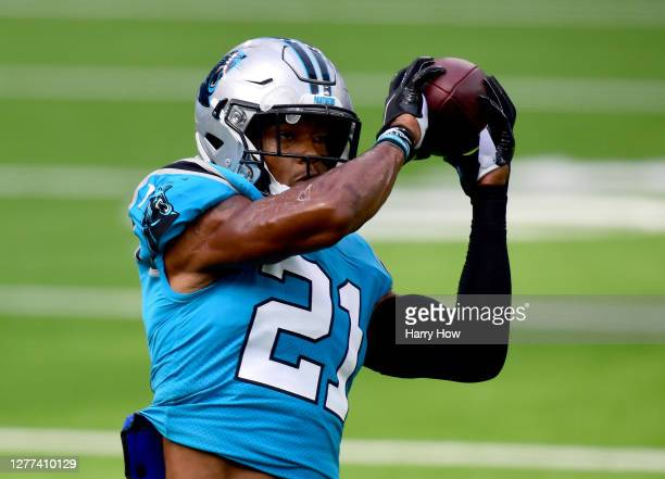 Jeremy Chinn of the Carolina Panthers warms up before the game against the Los Angeles Chargers at SoFi Stadium on September 27, 2020 in Inglewood,...