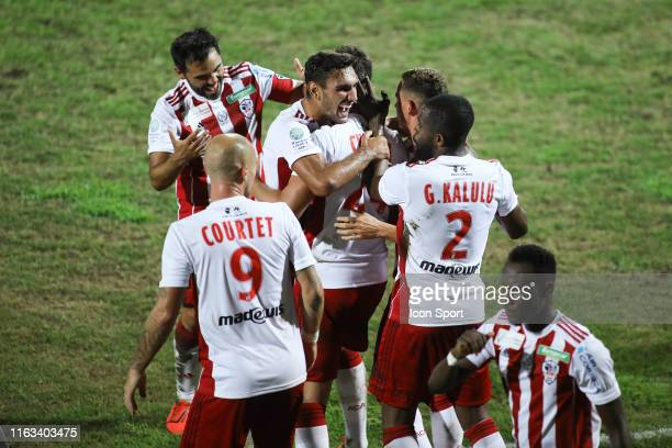 Jeremy Choplin of AC Ajaccio celebrates during the Ligue 2 match between AC Ajaccio and Paris FC on August 23 2019 in Ajaccio France