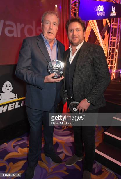 Jeremy Clarkson, accepting the Lifetime Achievement award, and James Martin attend the GQ Car Awards 2020 in assoociation with Michelin at the...
