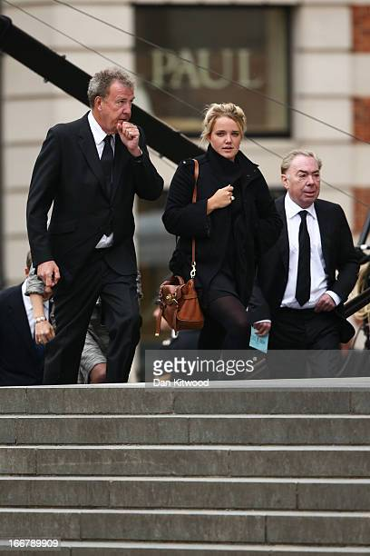 Jeremy Clarkson and Andrew Lloyd Webber Baron LloydWebber attend the Ceremonial funeral of former British Prime Minister Baroness Thatcher on April...