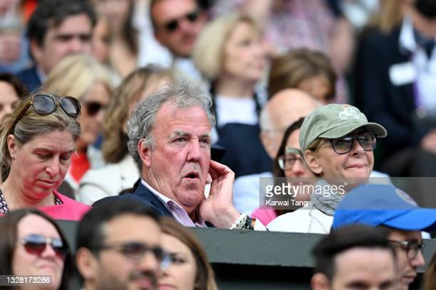 Jeremy Clarkson and Lisa Hogan attend Wimbledon Championships Tennis Tournament at All England Lawn Tennis and Croquet Club on July 11, 2021 in...