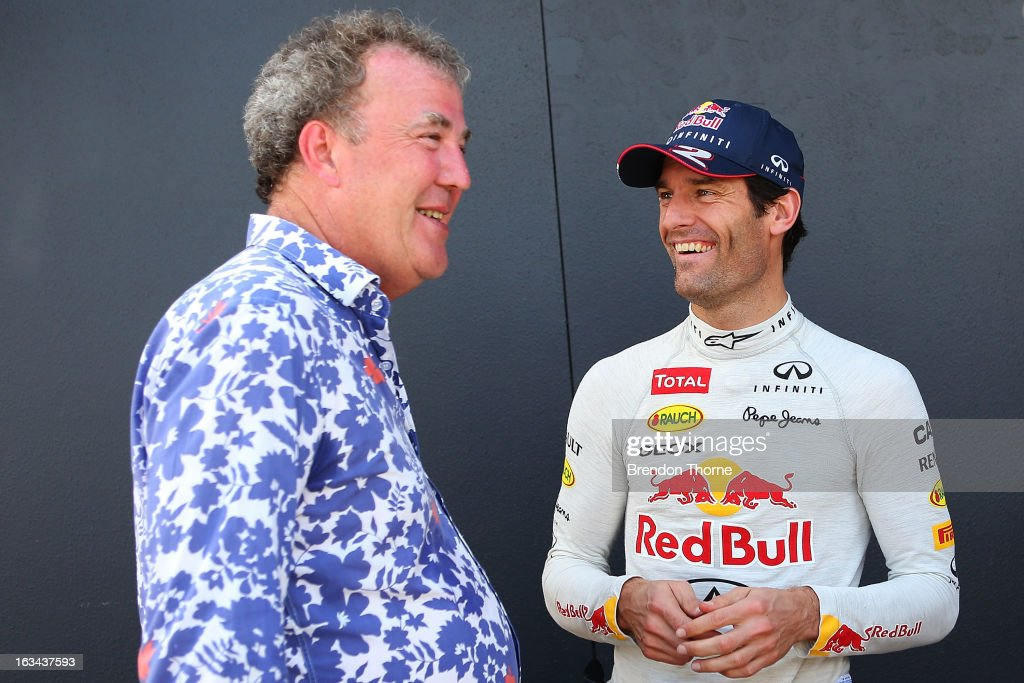 Jeremy Clarkson and Mark Webber of Australia and Infiniti Red Bull Racing share a joke during the Top Gear Festival at Sydney Motorsport Park on March 10, 2013 in Sydney, Australia.
