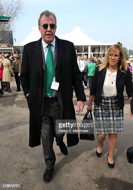 Jeremy Clarkson and wife Frances Cain attend on day 4 of The Cheltenham Festival at Cheltenham Racecourse on March 14 2014 in Cheltenham England