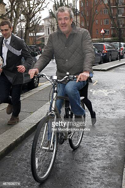Jeremy Clarkson seen leaving his house on a bike on March 26 2015 in London England