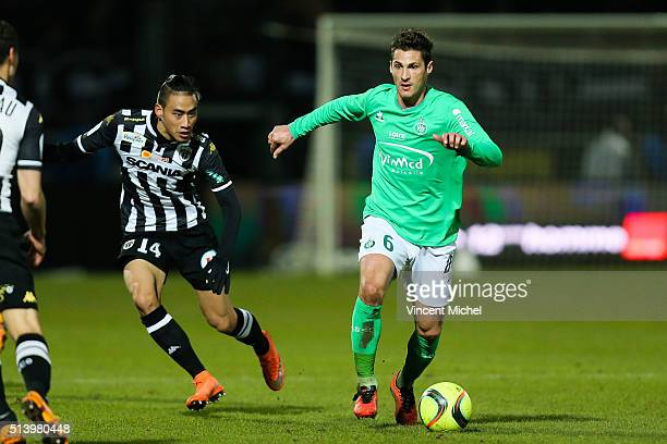 Jeremy Clement of SaintEtienne during the French Ligue 1 match between Angers SCO v AS SaintEtienne at Stade JeanBouin on March 5 2016 in Angers...