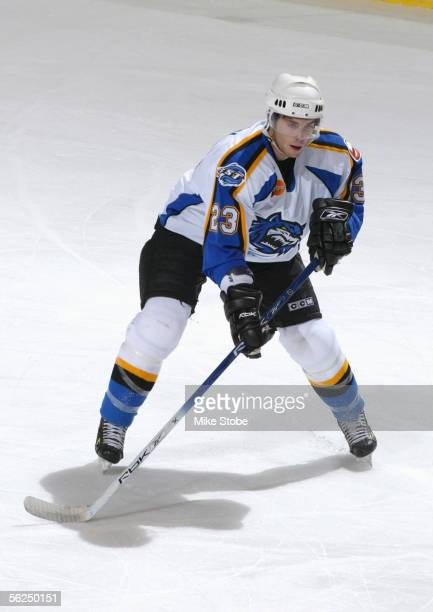 Jeremy Colliton of the Bridgeport Sound Tigers skates during the game with the Norfolk Admirals November 2 2005 in Bridgeport Connecticut The...