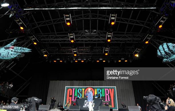 Jeremy Corbyn addresses the audience on the Pyramid stage on day 3 of the Glastonbury Festival 2017 at Worthy Farm Pilton on June 24 2017 in...