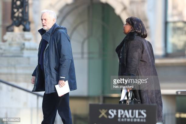 Jeremy Corbyn and Diane Abbott attend the Grenfell Tower national memorial service held at St Paul's Cathedral on December 14 2017 in London England