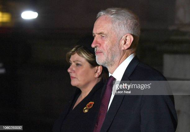 Jeremy Corbyn and Emily Thornberry leave after attending a service marking the centenary of WW1 armistice at Westminster Abbey on November 11 2018 in...