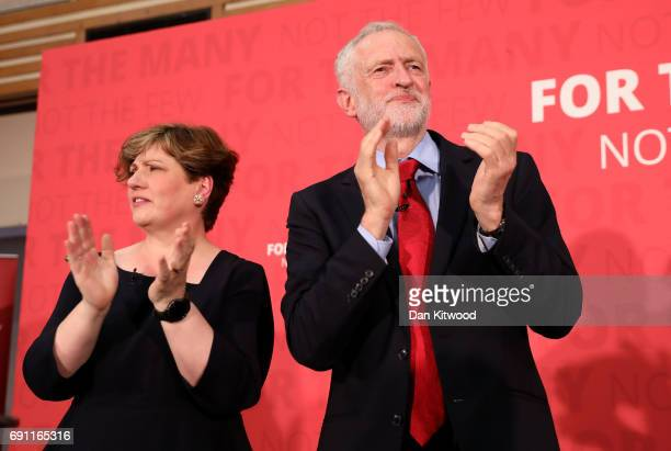 Jeremy Corbyn and Emily Thornberry react as Jeremy Corbyn delivers a speech on Labour's plan for Brexit negotiations at Pitsea Leisure Centre on June...