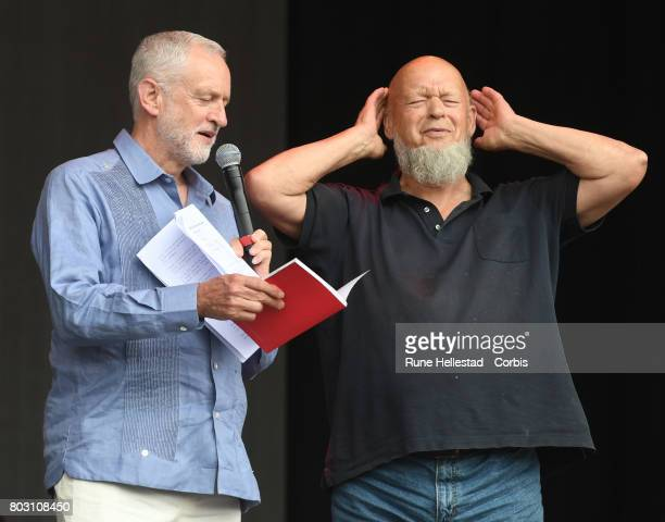 Jeremy Corbyn and Michael Eavis attend day 3 of the Glastonbury Festival 2017 at Worthy Farm Pilton on June 24 2017 in Glastonbury England