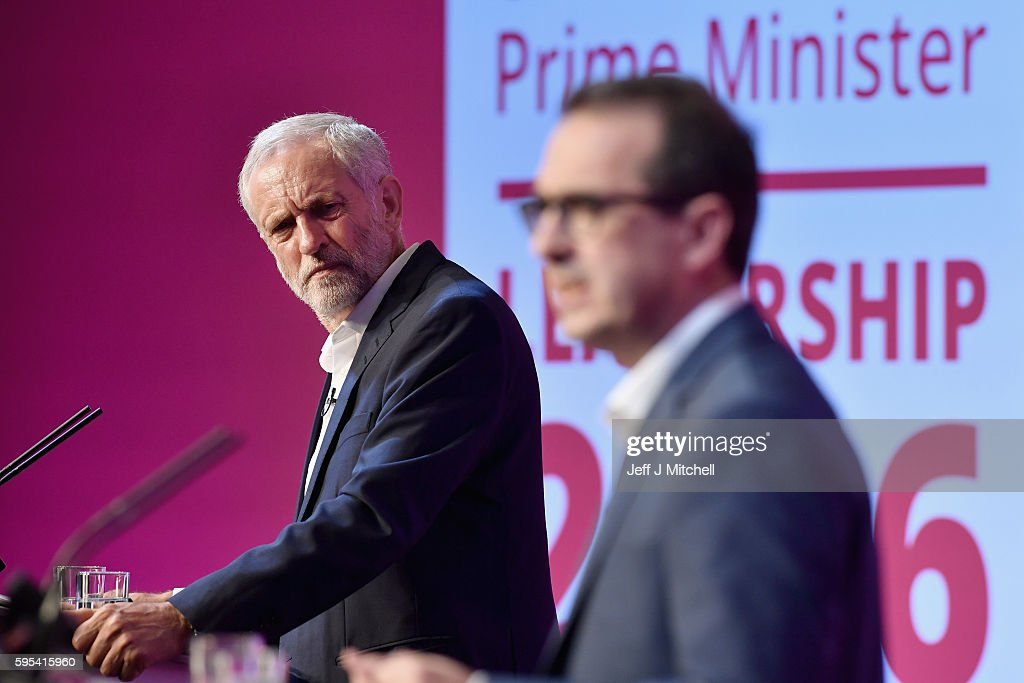 Jeremy Corbyn and Owen Smith attend a Labour Party leadership debate on August 25, 2016 in Glasgow, Scotland. Jeremy Corbyn and Owen Smith are going head to head in a debate at the SECC, the hustings event is part of a series organised for the Labour leadership election campaign and is the only one to be taking place in Scotland.