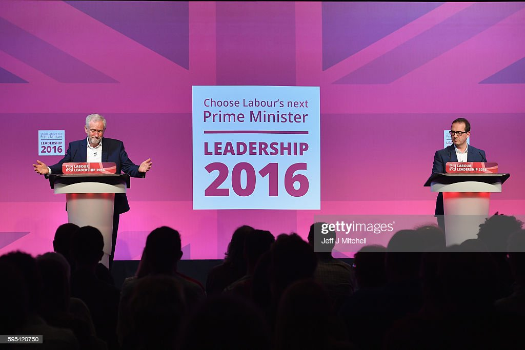 Jeremy Corbyn and Owen Smith attend a Labour Party leadership debate on August 25, 2016 in Glasgow,Scotland. Jeremy Corbyn and Owen Smith are going head to head in a debate at the SECC, the hustings event is part of a series organised for the Labour leadership election campaign and is the only one to be taking place in Scotland.