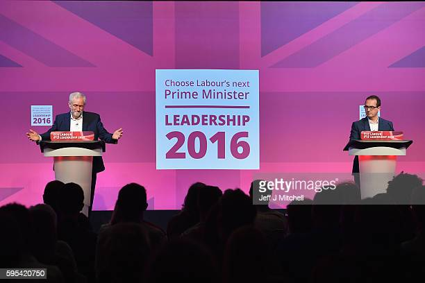 Jeremy Corbyn and Owen Smith attend a Labour Party leadership debate on August 25 2016 in GlasgowScotland Jeremy Corbyn and Owen Smith are going head...