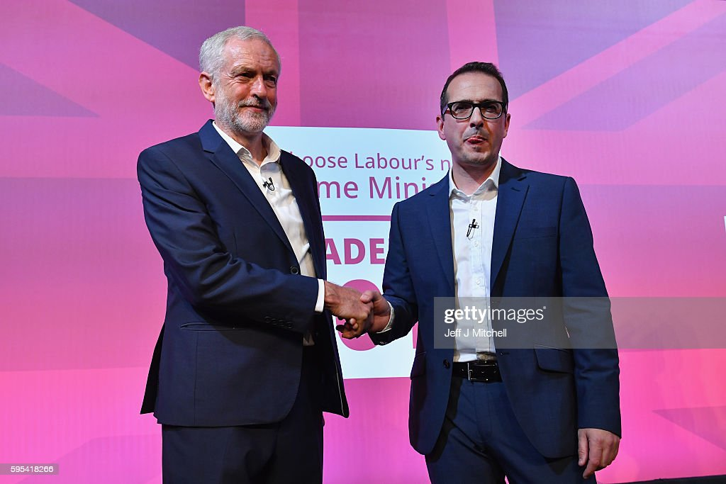 Jeremy Corbyn and Owen Smith shake hands following a Labour Party leadership debate on August 25, 2016 in Glasgow, Scotland. Jeremy Corbyn and Owen Smith are going head to head in a debate at the SECC, the hustings event is part of a series organised for the Labour leadership election campaign and is the only one to be taking place in Scotland.