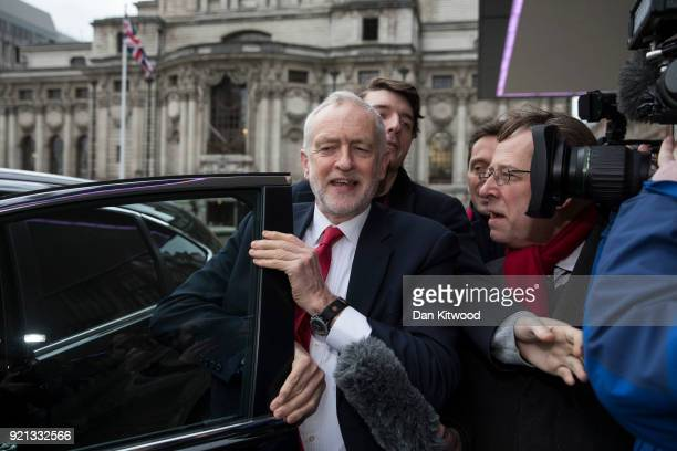 Jeremy Corbyn arrives to deliver a speech at The Queen Elizabeth II Conference Centre on February 20 2018 in London England Corbyn addressed the EEF...