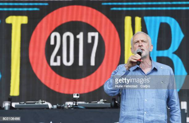 Jeremy Corbyn attends day 3 of the Glastonbury Festival 2017 at Worthy Farm Pilton on June 24 2017 in Glastonbury England